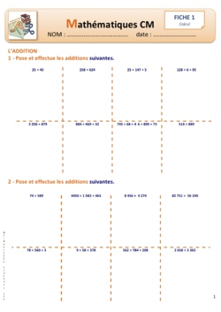 Fiches Calcul 1 et 2 (Addition Soustraction)