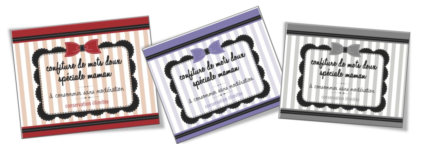 Assez Etiquettes pots à confiture de mots doux fêtes des mères   Bout de  NH75