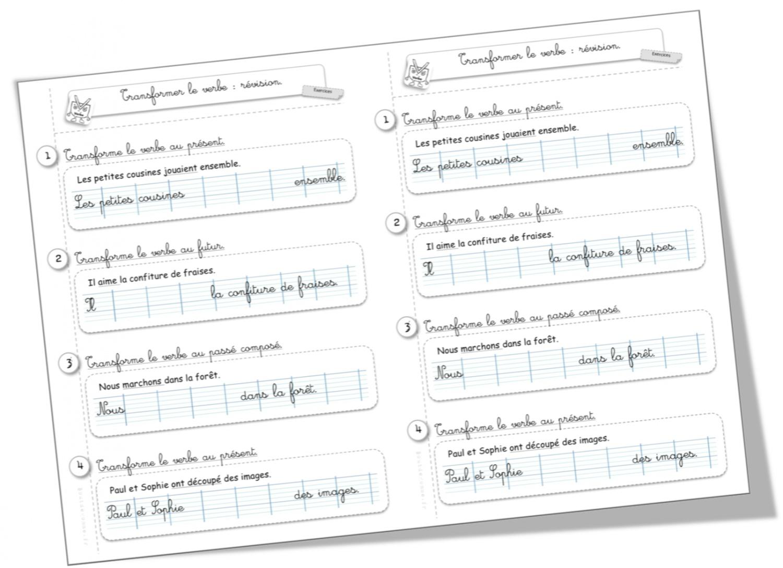 Exercice révision CE1 : transformer les verbes | Bout de Gomme