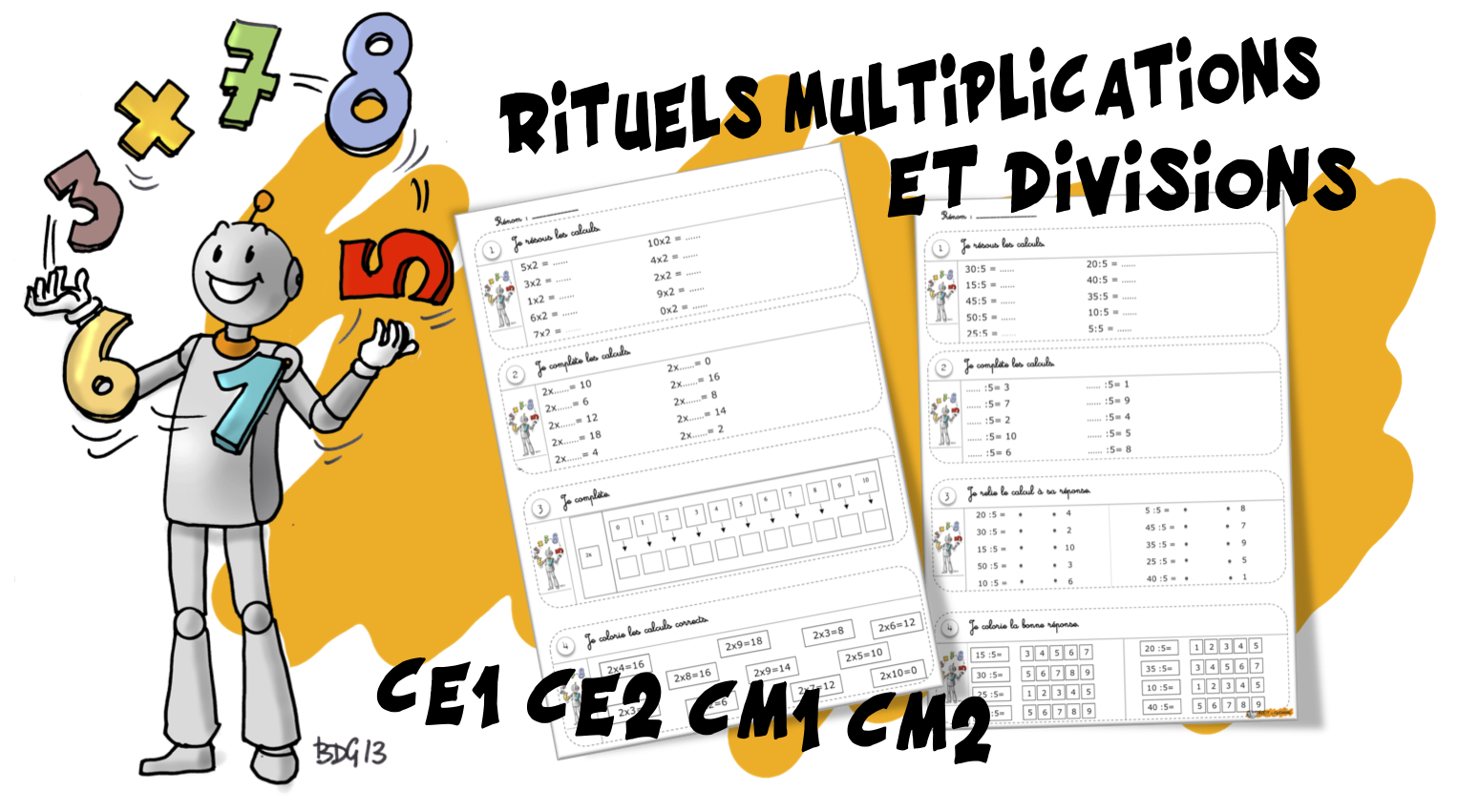 Rituels maths multiplications et divisions bout de gomme - Exercices sur les tables de multiplication ce ...