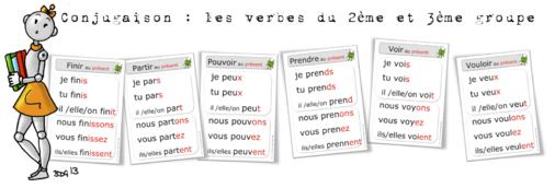 Ce2 Affichages Présent Des Verbes Du 2ème Et 3me Groupe Bout De Gomme