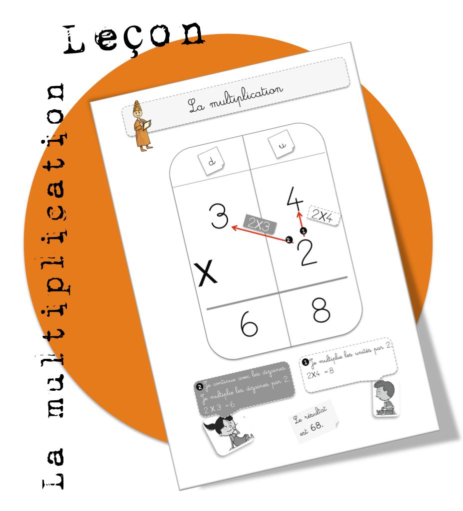 Affiche Multiplication maths : leçon. la multiplication | bout de gomme