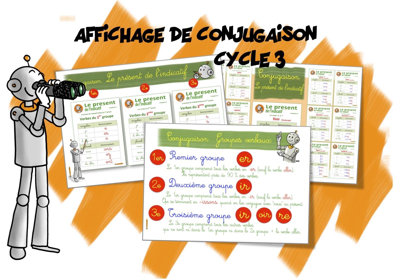 Affichage conjugaison cycle 3 bout de gomme - Conjugaison cm2 a imprimer ...