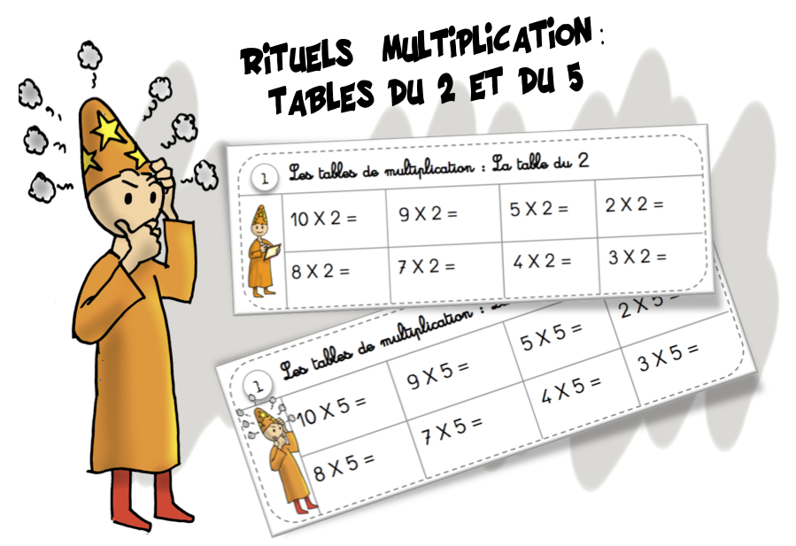 Rituels multiplication la table du 2 et du 5 bout de gomme for Table de multiplication de 2 a 5