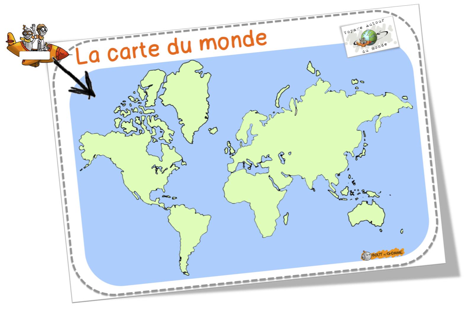 Voyage autour du monde bout de gomme for Planisphere enfant