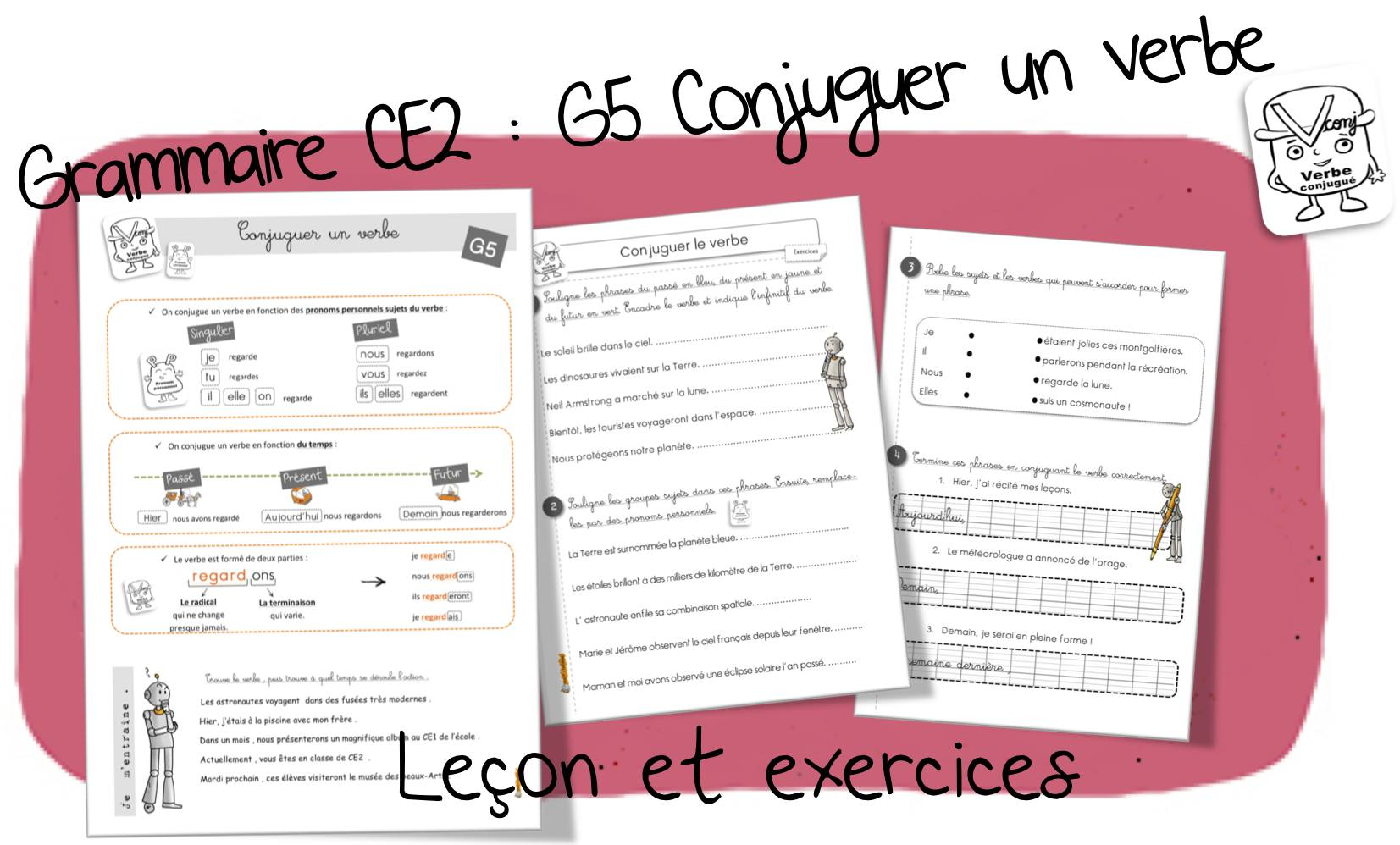 Reussir En Grammaire Au Ce2 G5 Conjuguer Un Verbe Bout De Gomme