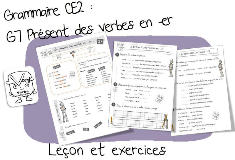 G7 Conjugaison Le Present Des Verbes En Er Bout De Gomme