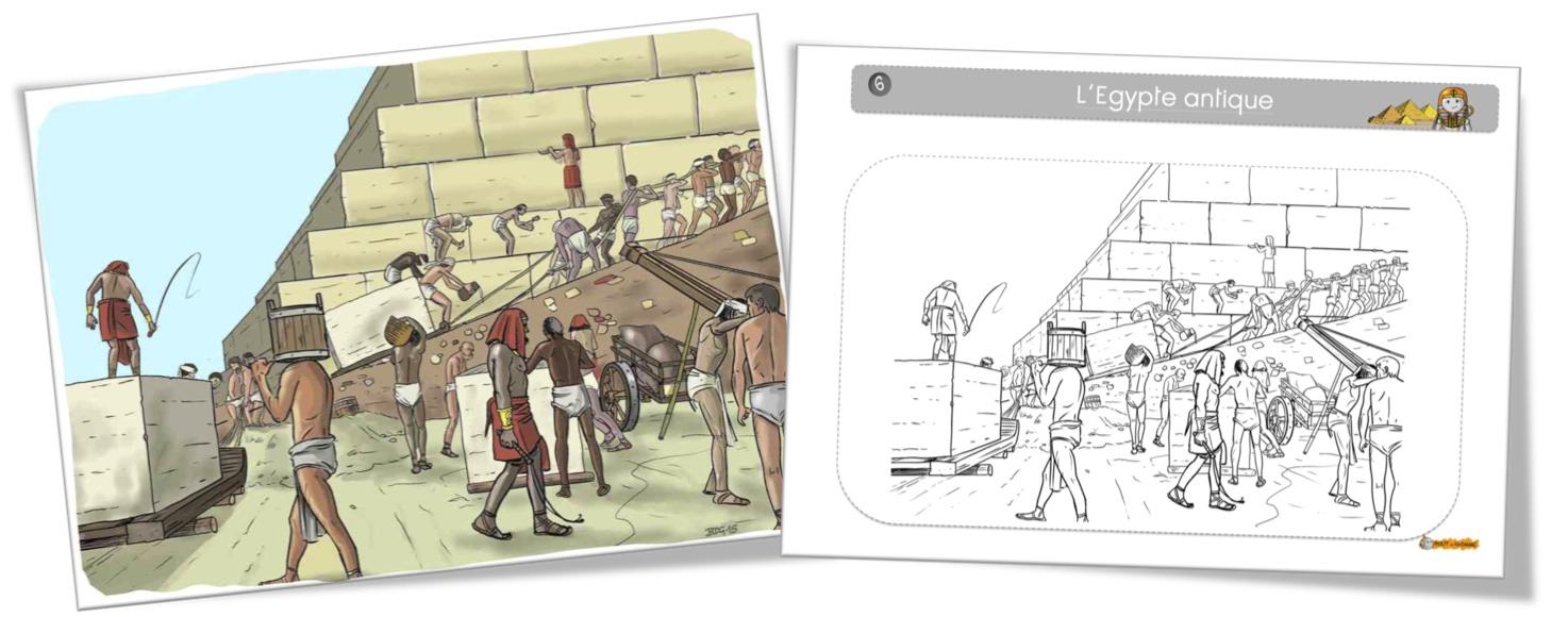 Coloriage A Imprimer Egypte Antique.Coloriage Egypte La Construction Des Pyramides Bout De Gomme