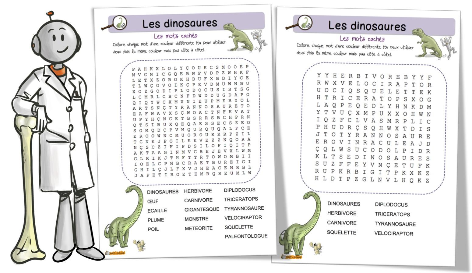 Gut bekannt Les dinosaures : mots mêlés | Bout de Gomme WJ55