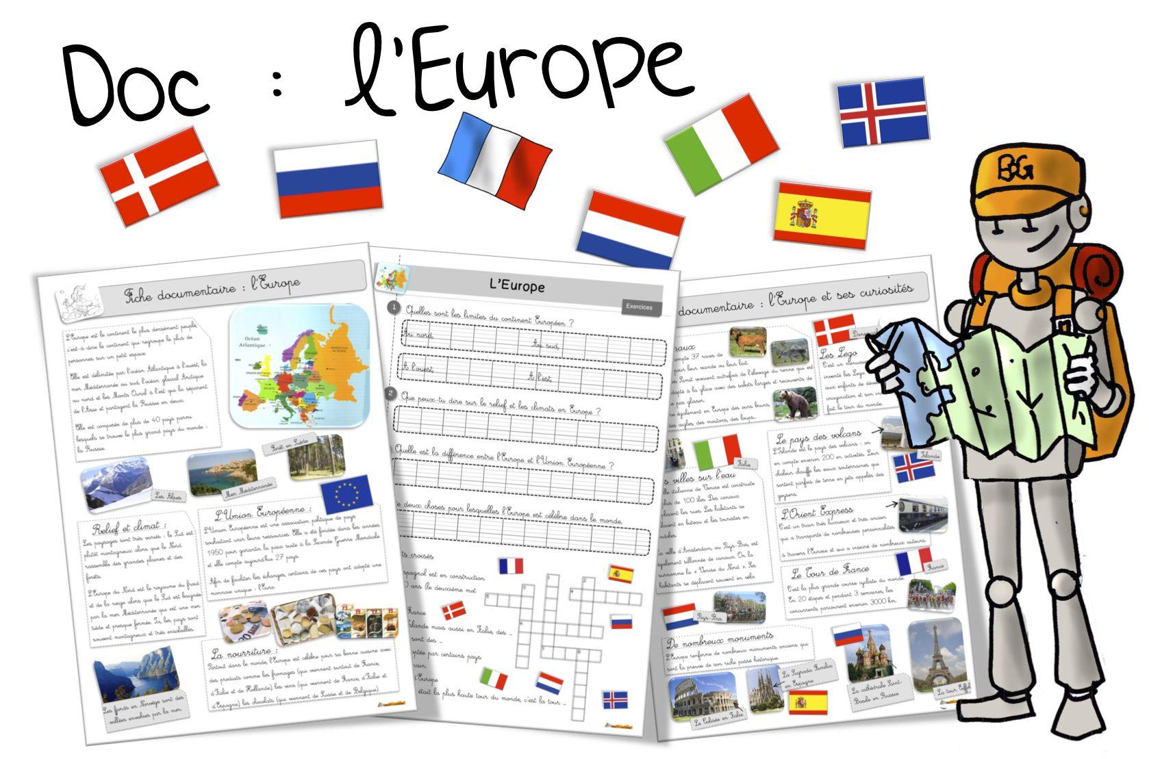 L'Europe : découverte et exercices | Bout de Gomme