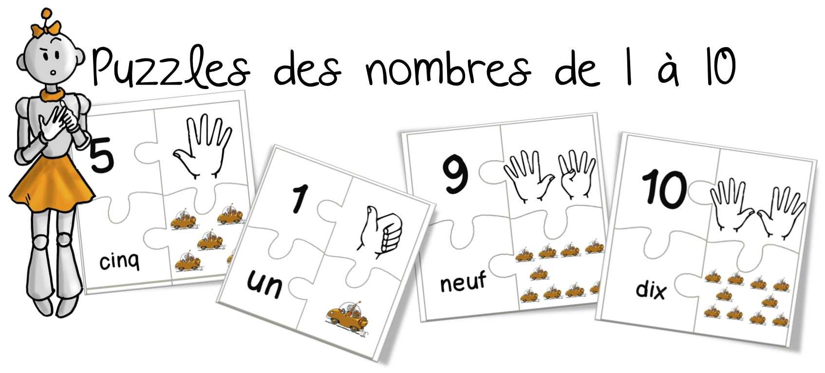 Célèbre CP : Puzzles des nombres de 0 à 10 | Bout de Gomme IS67