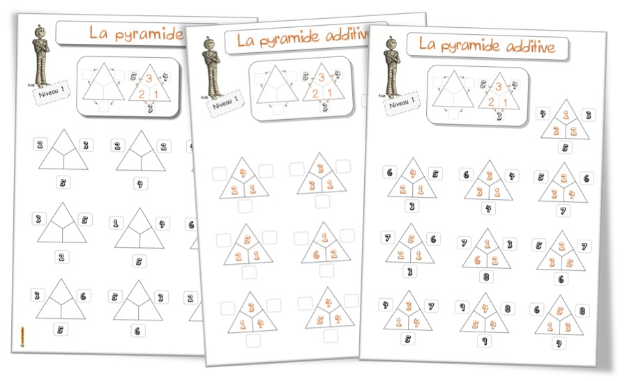 La pyramide des additions fiches l ves bout de gomme - Table d addition ce1 a imprimer ...