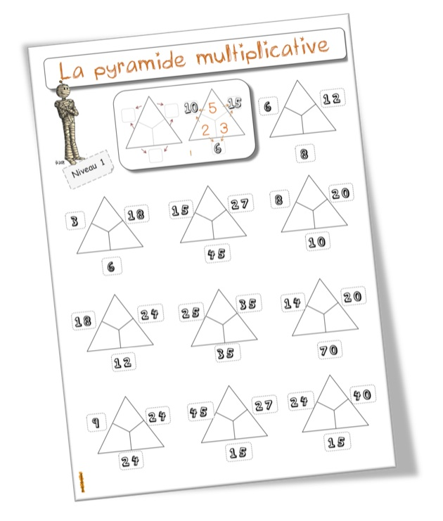 Jeu la pyramide des multiplications bout de gomme - Table des multiplications ...