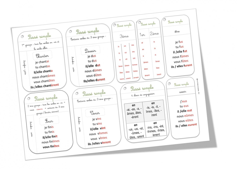 Cartes conjugaison : passé simple   Bout de Gomme