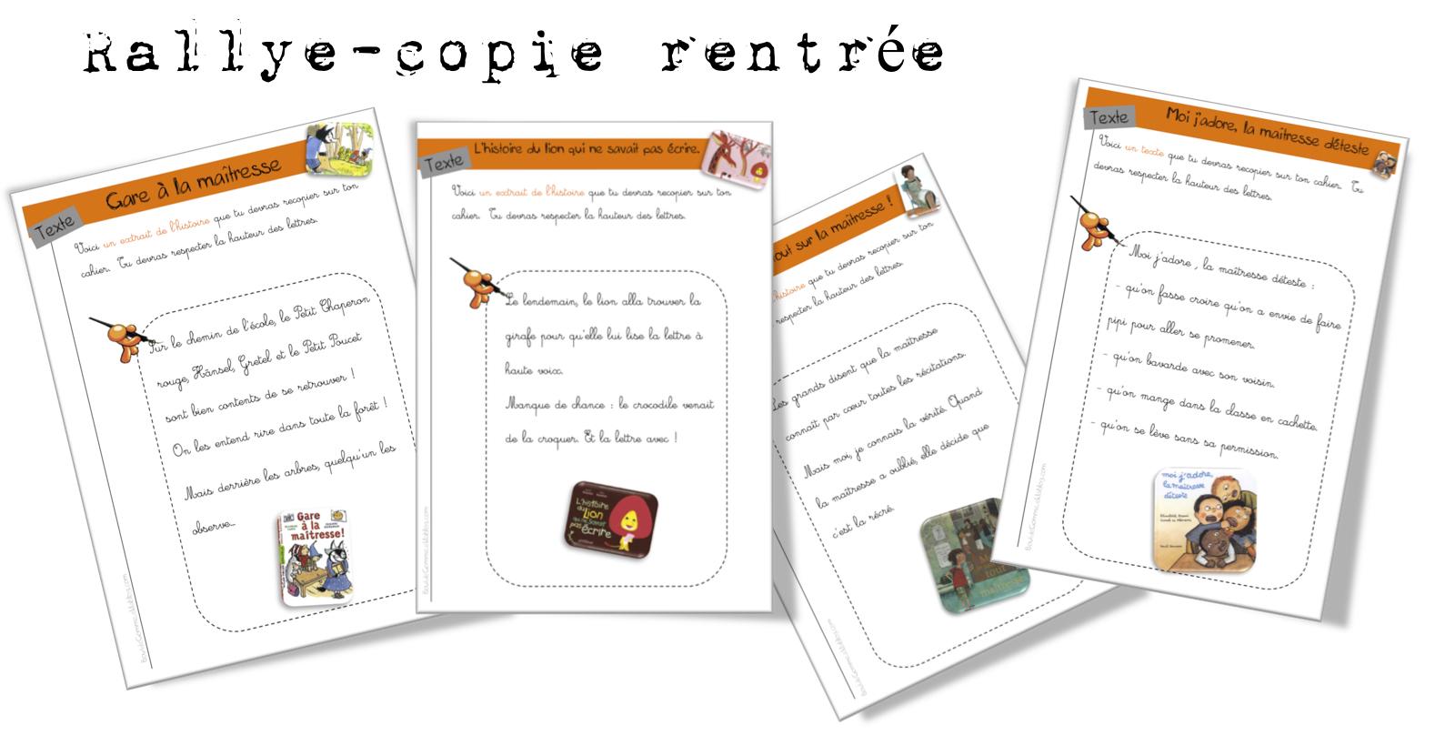 Rallye Copie Rentrée Bout De Gomme