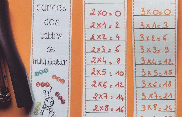 Calcul mon carnet des tables de multiplication bout de for Apprendre facilement table de multiplication