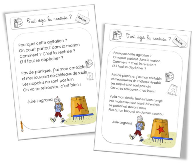 Poésies De Rentrée Du Cp Au Cm Bout De Gomme